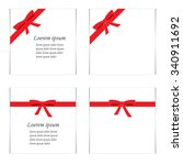 flat set of cards with red gift ... | Shutterstock .eps vector #340911692