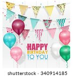 happy birthday background with... | Shutterstock .eps vector #340914185