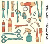 big collection of hairdressing... | Shutterstock .eps vector #340917032