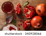 pomegranate fruit healthy food... | Shutterstock . vector #340928066
