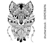 black and white fox   decorated ... | Shutterstock .eps vector #340928696