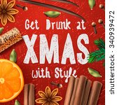 christmas drink mulled wine ... | Shutterstock .eps vector #340939472
