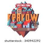 krakow in poland is beautiful...   Shutterstock .eps vector #340942292