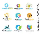 logo collection set people idea kids geek spa yoga human and healthy beauty eco care school brain inspiration education template | Shutterstock vector #340946906