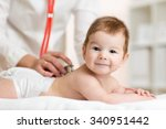 pediatrician doctor listens to... | Shutterstock . vector #340951442
