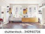 the modern kitchen interior. 3d ... | Shutterstock . vector #340960736