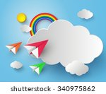 plane on blue sky with rainbow... | Shutterstock .eps vector #340975862