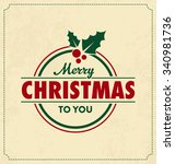 vintage style christmas... | Shutterstock .eps vector #340981736