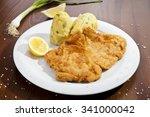 vienna schnitzel with potato... | Shutterstock . vector #341000042