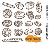 bakery products sketch set   Shutterstock .eps vector #341001308