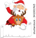 santa waving and holding blank... | Shutterstock .eps vector #341001965