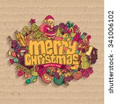 merry christmas card. vector... | Shutterstock .eps vector #341006102