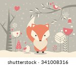 cute christmas baby fox... | Shutterstock .eps vector #341008316