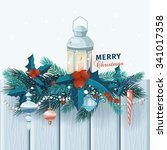 christmas card  with fir... | Shutterstock .eps vector #341017358