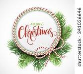 christmas circle frame of fir... | Shutterstock .eps vector #341026646