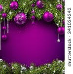 christmas background with fir... | Shutterstock .eps vector #341034242