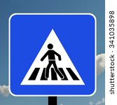 warning triangle pedestrian... | Shutterstock . vector #341035898
