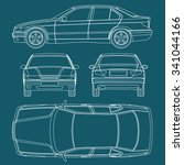 car line draw blueprint... | Shutterstock .eps vector #341044166