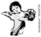 grunge retro angel. | Shutterstock .eps vector #34104724