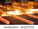 hot steel on conveyor in steel... | Shutterstock . vector #341057252
