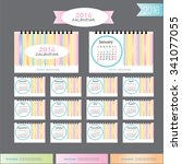 2016 calendar.pastel stripe... | Shutterstock .eps vector #341077055