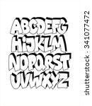 cartoon comic graffiti font... | Shutterstock .eps vector #341077472