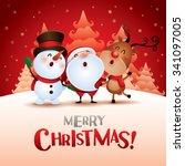merry christmas  happy... | Shutterstock .eps vector #341097005