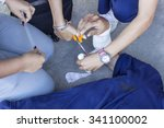 immediate first aid is injured... | Shutterstock . vector #341100002