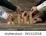 hands of five businessman...   Shutterstock . vector #341112518