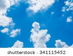 looking up at blue sky with... | Shutterstock . vector #341115452