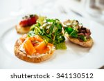 plate of assorted italian... | Shutterstock . vector #341130512