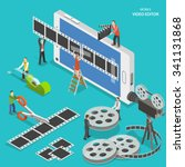 mobile video editor flat... | Shutterstock .eps vector #341131868