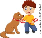 cartoon boy with his dog... | Shutterstock . vector #341156162