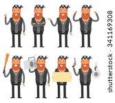 biker in different poses | Shutterstock .eps vector #341169308