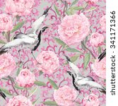 crane birds dance in pink peony ... | Shutterstock . vector #341171366
