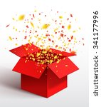 open red gift box and confetti. ... | Shutterstock .eps vector #341177996