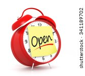 Red Alarm Clock With Open Time...