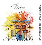 Drums. Watercolor Vector...