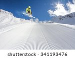 flying skier on mountains.... | Shutterstock . vector #341193476