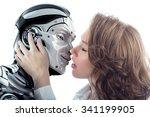 A Beautiful Woman Kissing Male...