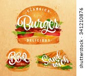 set of classic burger  bbq and... | Shutterstock .eps vector #341210876