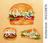 set of classic burger  bbq... | Shutterstock .eps vector #341210876