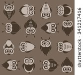 background with brown owls | Shutterstock .eps vector #341217416