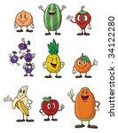 cute cartoon fruits. all in... | Shutterstock .eps vector #34122280