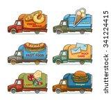 vector set of trucks    fresh... | Shutterstock .eps vector #341224415