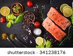 raw salmon fillet and... | Shutterstock . vector #341238176