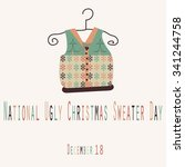 national ugly christmas sweater ... | Shutterstock .eps vector #341244758