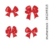 red shiny gift bows collection... | Shutterstock .eps vector #341249315
