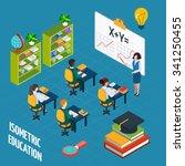 school education  isometric... | Shutterstock .eps vector #341250455