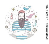 easy illustration of a sailor... | Shutterstock .eps vector #341256788